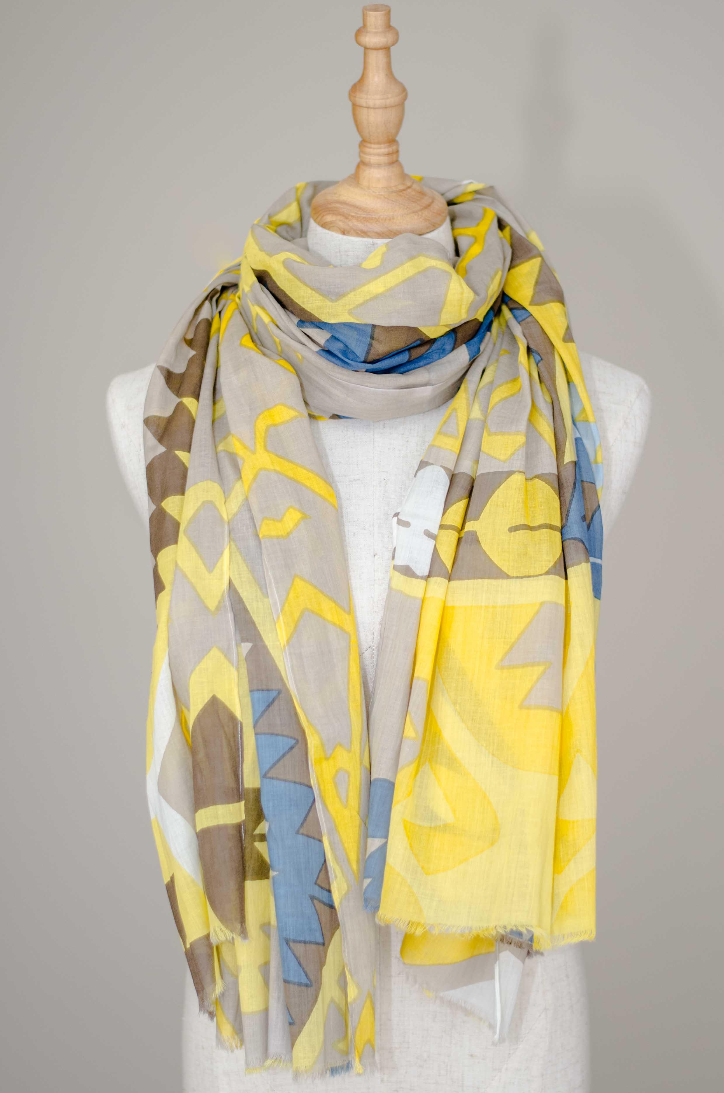 Scarves -men's Scarf Yellow Blue Men